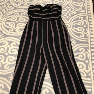 Strapless black striped jumpsuit